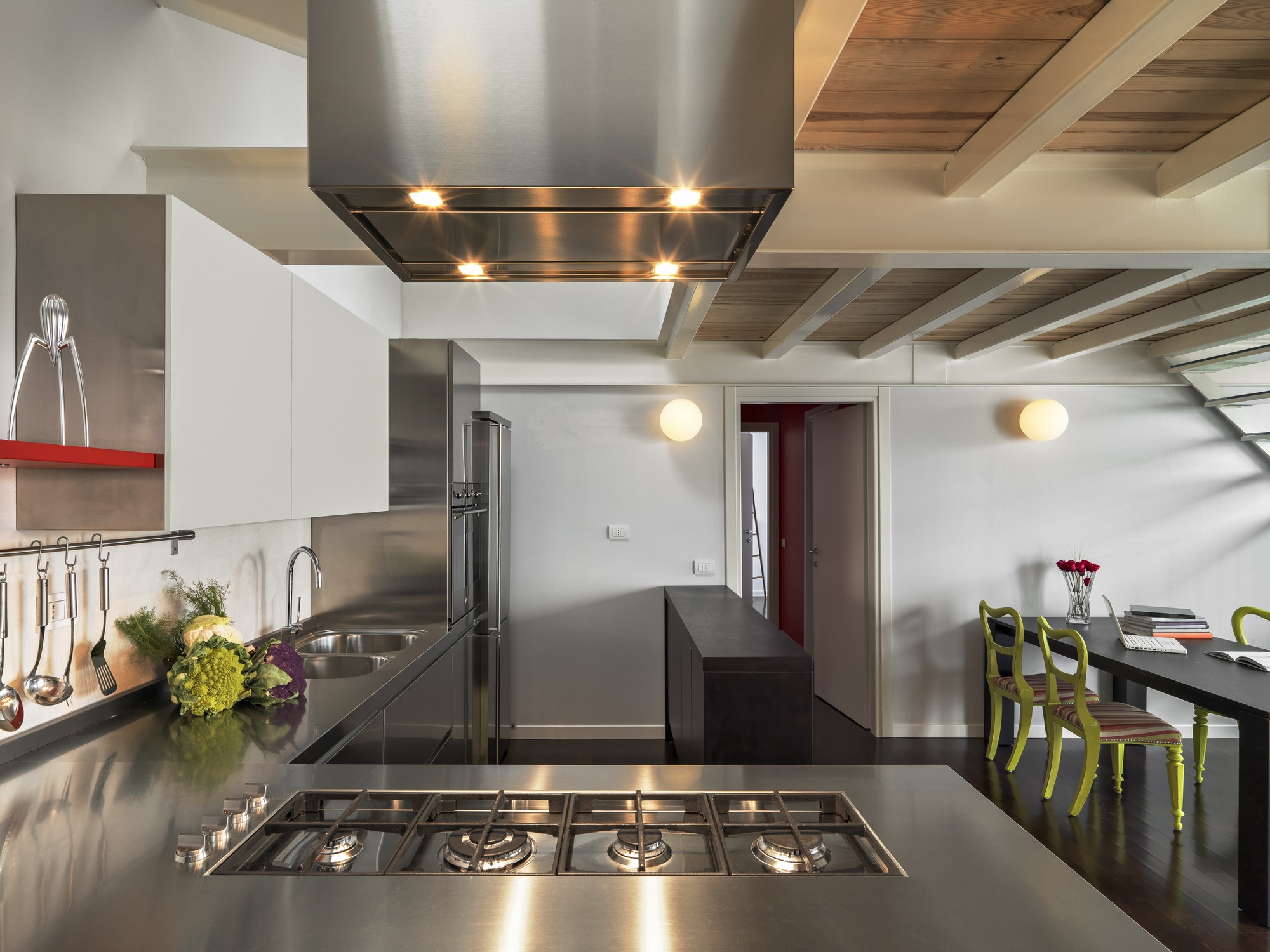 Interior of a Kitchen in a Modern Penthouse
